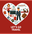 travel poster heart and traveling or vector image vector image
