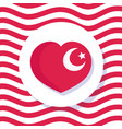 turkey republic day flag national shaped heart vector image vector image
