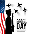usa flag and military with rifle to memorial day vector image