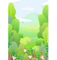 vertical floral border and spring landscape vector image vector image
