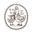 Vignette card element with mother and child vector image