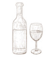 wine bottle and a glass of hand drawn sketch vector image