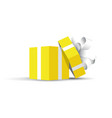 yellow opened present vector image vector image