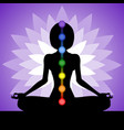 young woman meditates in lotus position vector image