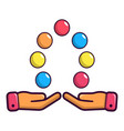 juggler hands and balls icon cartoon style vector image