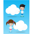 The kids boy and girl pointing at the blank cloud vector image