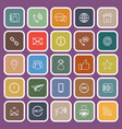 contact us line flat icons on purple background vector image