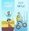 cycle racing vertical cartoon banners vector image