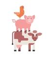 Farm animals set hen pig and cow domestic cartoon vector image