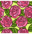 seamless background Pink roses with green leaves vector image