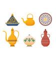 arabic oriental dishes set antique yellow teapots vector image vector image