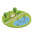 city park isometric round composition vector image