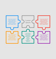 colorful puzzle six pieces infographic six steps vector image