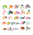 Cute cartoon animals alphabet from A to Z vector image vector image
