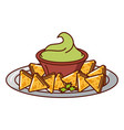 delicious nachos with sauce vector image