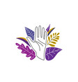 female hand open in stop gesture surrounded vector image