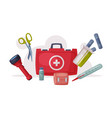 first aid kit box with medical equipment and vector image vector image