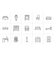 furniture hand drawn sketch icon set vector image vector image