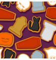 halloween cookie seamless pattern background vector image