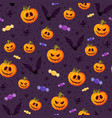 halloween pumpkin seamless pattern on purple vector image vector image
