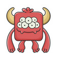 happy red square devil cartoon monster vector image vector image