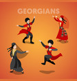 Isometric georgian people in traditional clothes vector image