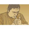 lighting cigarette vector image vector image