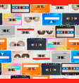 many colorful detailed audio cassettes in a row vector image