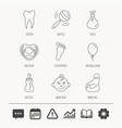 Pacifier baby boy and bottle icons tooth sign