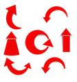 red curved arrow wig shadow vector image vector image