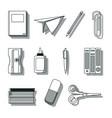 set of school utensils draws vector image vector image