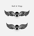 skull logo with devil wings logo design vector image vector image