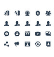 social media and network icon set in glyph style vector image vector image