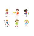 summer kids outdoor activities set boys and girls vector image vector image