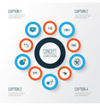transportation icons colored line set with globe vector image vector image