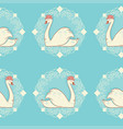 vintage cameo swans with water lilies vector image vector image
