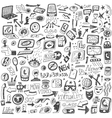 websocial media devices - doodles vector image