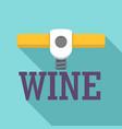 wine corkscrew logo flat style vector image vector image