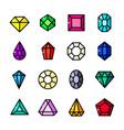 thin line gems icons set vector image