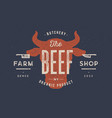 beef cow bull vintage typography lettering vector image vector image