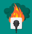 burning electrical outlet electrical vector image