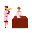 cartoon doctors pediatricians man and woman vector image vector image