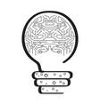 conceptual idea lightbulb with an abstract brain vector image vector image