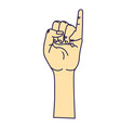 cute hand with pinky up symbol vector image vector image