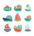 Different kind of boats Set of sea transport vector image vector image