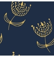 Endless floral patternDeep blue and golden vector image