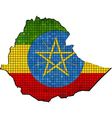 Ethiopia map with flag inside vector image vector image