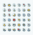 flat color thin line icons set with vector image vector image