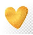 gold heart paint brush for valentine on white vector image vector image