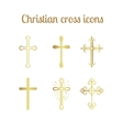 Golden christian cross set vector image